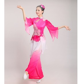 Women's girls female fuchsia gradient color Chinese folk dance costumes traditional ancient long sleeves fan dance stage performance costumes for ladies