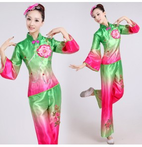 Women's girls female gradient color blue yellow green rainbow color Chinese folk dance costumes traditional ancient stage performance fan dance dresses sets for ladies