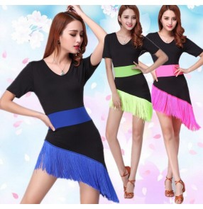Women's girls female ladies fuchsia neon green royal blue striped irregular fringe hem short sleeves latin dance dresses salsa  samba rumba cha cha dance dresses
