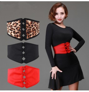 Women's girls female ladies leopard black red wide width latin dance accessories samba salsa cha cha ballroom waltz dance sashes waistband( only sashes)