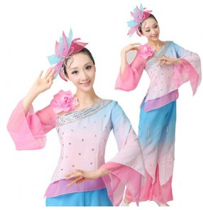 Women's girls female pink and blue gradient color long sleeves Chinese folk fan dance costumes set traditional ancient dance dresses tops and pants