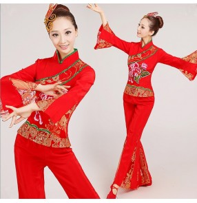 Women's girls female red flower Chinese folk fan dance costumes ancient traditional stage performance dresses for ladies