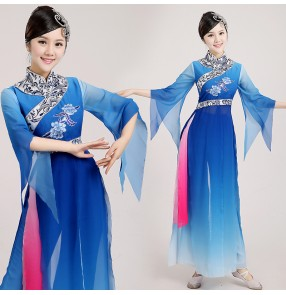 Women's girls female white and blue royal blue gradient color long sleeves Chinese folk dance traditional ancient fan dance costumes dresses sets for ladies