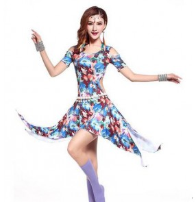 Women's girls floral printed blue fuchsia blue brown sexy fashionable competition practice belly dance costumes dresses dancewear clothes
