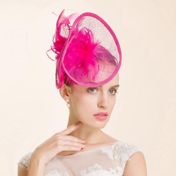 Women s girls fuchsia high quality fascinators luxury sinamay pill box hats  bridal wedding fedoras feather hair accessory d59c488d2de
