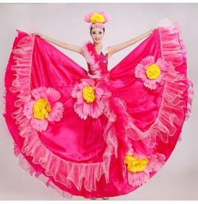 Women's girls Fuchsia red flower big skirted modern opening dance stage performance dance costumes folk Spanish bull dance dresses costumes clothes 540 degree hem