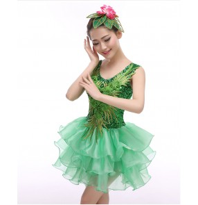 Women's girls green embroidery pattern seuined tank sleeves high quality modern dance dresses costumes stage performance clothes