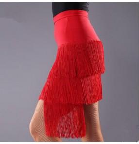 Women's girls high quality  competition red black tassels irregular length latin dance skirts salsa samba rumba dance skirt