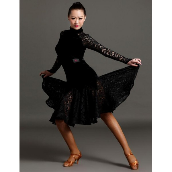 abf3e4a9603 Women s girls high quality turtle neck royal blue black red velvet lace  patchwork professional competition latin dance dress salsa chacha ballroom  dance ...