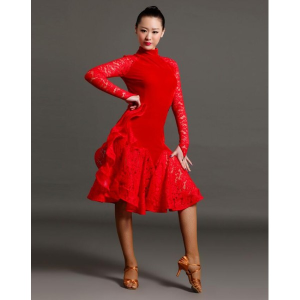ada295cea93d0 Women's girls high quality turtle neck royal blue black red velvet lace  patchwork professional competition latin dance dress salsa chacha ballroom  dance ...