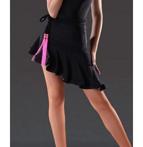 Women's girls irregular fashionable ruffles hem leopard black red latin dance skirts samba samba chacha dance skirt