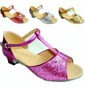 Women's girls kids children child silver gold sequined soft cow leather shoes sole competition latin ballroom dance shoes sandals