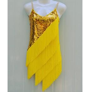 Women's girls kids children yellow custom size latin sequined paillette gold tassels high quality competition latin dance dress samba chacha dance dresses