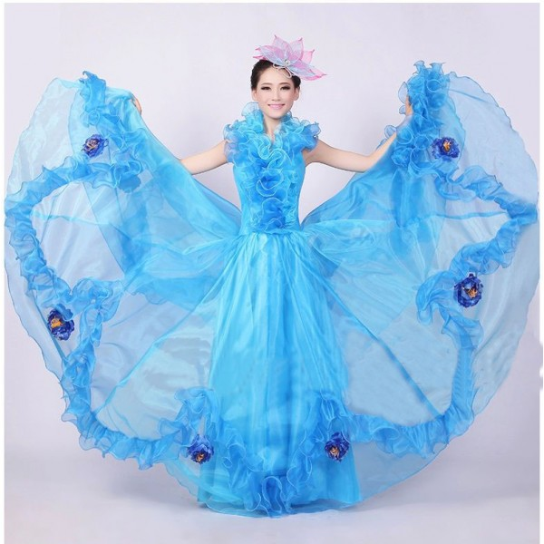 Women's girls ladies big skirted modern opening dance costumes ...
