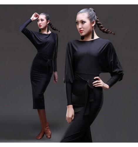 436df1b6ed12 Women's girls ladies black long loose sleeves back split hem sexy senior  professional competition latin salsa cha cha samba dance dresses