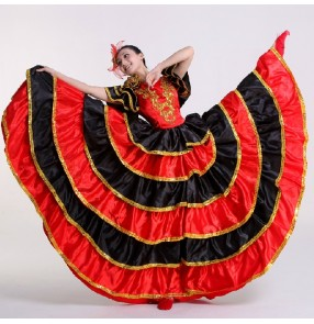 Women's girls ladies black red gold Spanish bull dance folk dance costumes short sleeves stage performance dance dresses clothes 540 big degree
