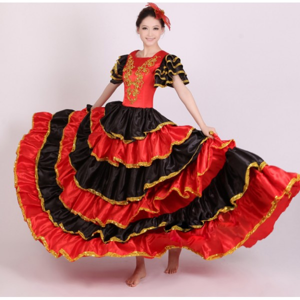 Women's girls ladies black red gold Spanish bull dance ...