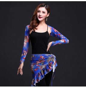 Women's girls ladies blue green floral waistcoat shrug  hip scarf black vest black pants Indian belly dance costumes Dresses sets