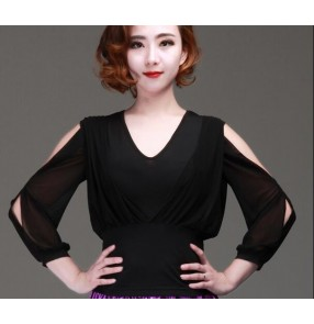 Women's girls ladies female black exposure shoulder loose sleeves ballroom latin salsa samba rumba tango waltz dance tops shirts