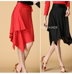 Women's girls ladies female black red triangle hip scarf latin dance irregular hem  skirts samba salsa dance skirts with separate shorts