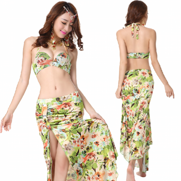 29b6a7c8f Women's girls ladies female floral green printed sexy fashionable  competition belly dance costumes dresses set bra top and skirt