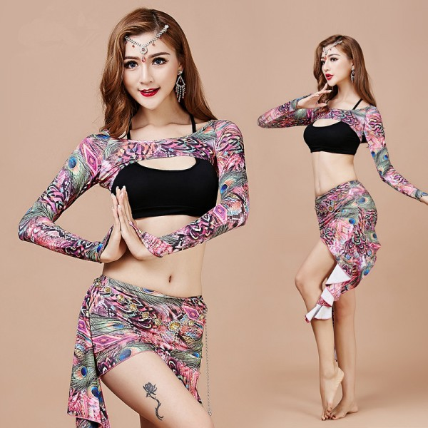bebf97351 Women's girls ladies female fuchsia green blue brown peacock printed floral  exercises sexy belly dance costume vest shawl skirt dance wear