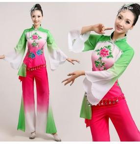 Women's girls ladies female fuchsia green gradient color long sleeves Chinese folk dance yangko dance fan dance costumes