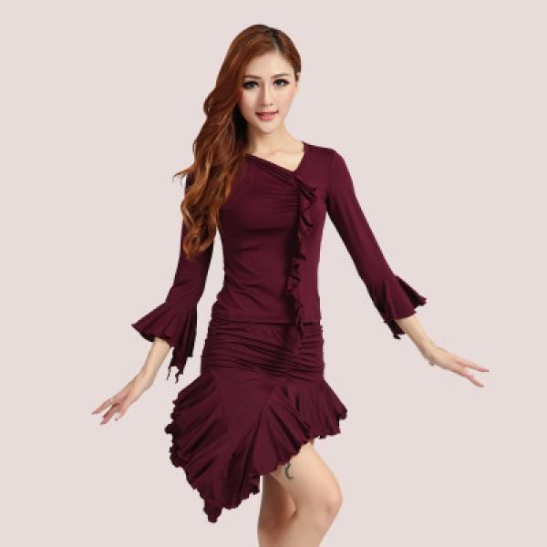 Women\'s girls ladies female plus size black red purple latin dresses sets  tops and skirts samba rumba salsa cha cha dance dresses dance wear