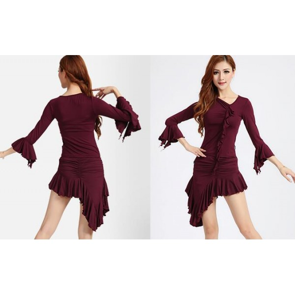 5e34dc05e50 Women s girls ladies female plus size black red purple latin dresses sets  tops and skirts samba rumba salsa cha cha dance dresses dance wear