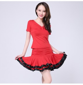 Women's girls ladies female red black ruffles skirt shor sleeves v neck top sexy exercises latin dance dresses sets salsa samba cha cha dance dresses