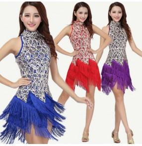 Women's girls ladies female red gold black violet royal blue white cheongsam sleeveless turtle neck fringe tassel latin dance dresses samba salsa cha cha dance dresses