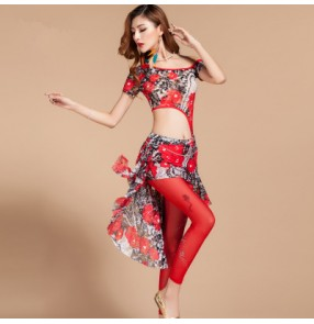 Women's  girls ladies female red green black floral printed sexy professional competition belly dance costumes dance wear top skirt and rhinestone legging pants