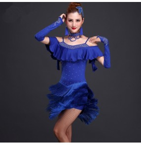 Women's girls ladies female royal blue fuchsia black red  dew shoulder straps rhinestones backless competition fringe latin dress stage performance salsa rumba cha cha  samba dance dresses with gloves and choker head accessory