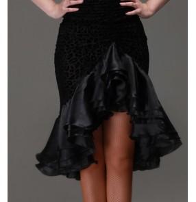 Women's girls ladies female velvet black leopard irregular ruffles hem latin dance skirts samba salsa cha cha dance skirts