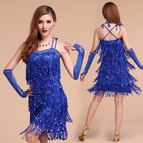 730e64691d875 Women's girls ladies fringe sequined paillette latin dance dresses samba  salsa rumba dance cha cha dresses without gloves