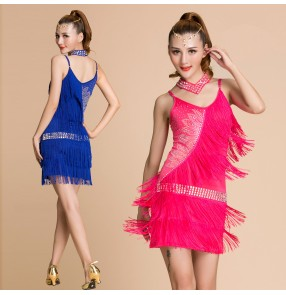Women's girls ladies fringes tassels straps turquoise fuchsia purple yellow royal blue sexy professional competition latin dresses samba rumba chacha salsa dance dresses