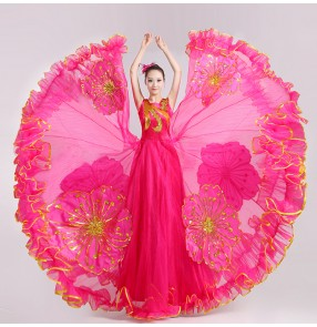 Women's girls ladies fuchsia red  folk dance costumes Spanish bull dance dresses big skirted hem 720 degree opening dance modern dance stage performance clothes costumes