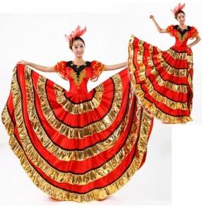 Women's girls ladies gold and red Spanish bull dance dresses modern stage performance costumes 540 degree hem