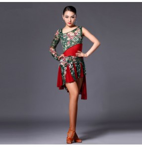 Women's girls ladies green lace floral red patchwork sexy one shoulder sleeves professional competition latin dresses samba salsa chacha rumba dance dresses without sashes