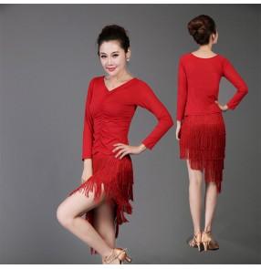 Women's girls ladies long sleeves v neck black red fringe latin dance dresses sets salsa samba cha cha dance dresses set top and skirts