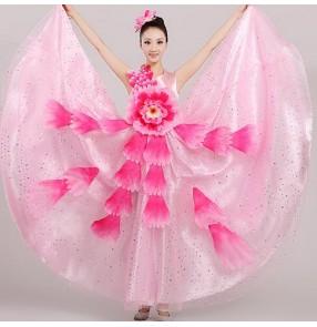 Women's girls ladies pink red big flower sleeveless modern stage opening dance performance costumes dresses  big skirted hem 540 degree