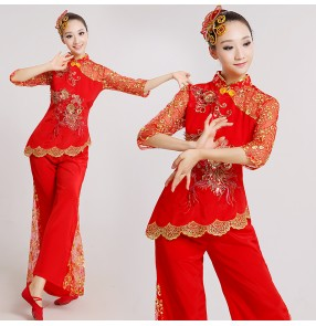 Women's girls ladies red lace short sleeves Chinese folk fan dance costumes ancient traditional stage performance dance dresses costumes clothes