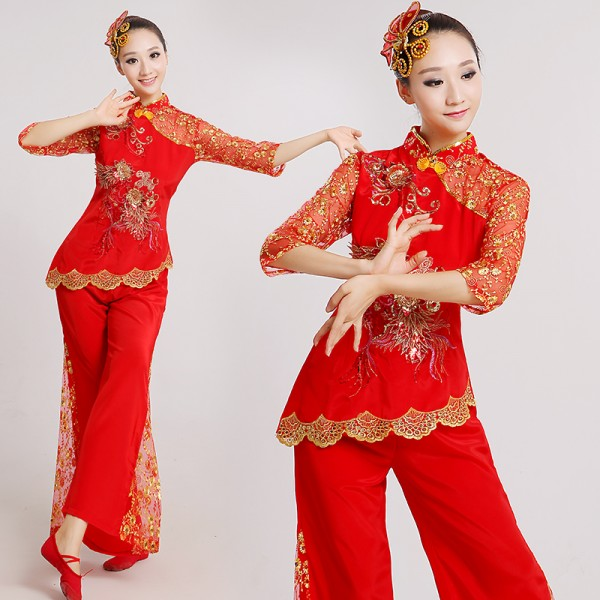women-s-girls-ladies-red-lace-short-sleeves-chinese-folk-fan-dance-costumes -ancient-traditional-stage-performance-dance-dresses-costumes-clothes-2502-  ... b659f233e