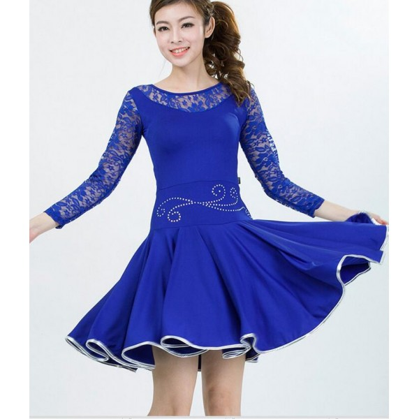 Ladies Royal Blue Lace Dress Dress On Sale