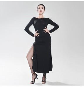 Women;s girls ladies sexy black long sleeves side split round neck latin dance dresses samba salsa cha cha jive rumba dance dresses
