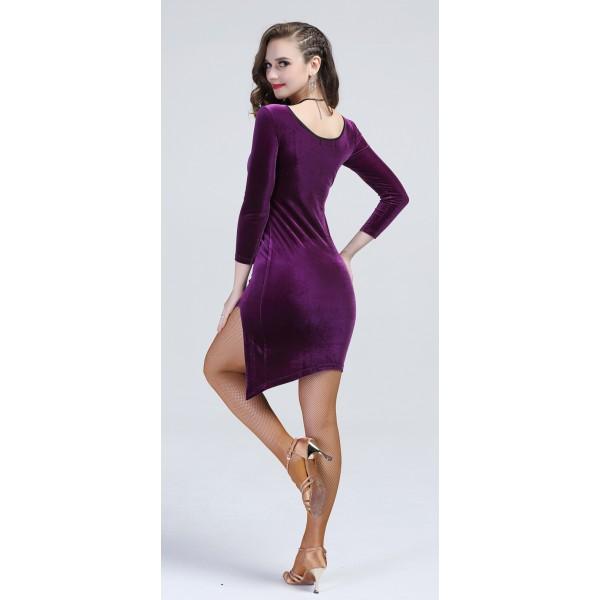 Women s girls ladies violet royal blue black velvet side split long