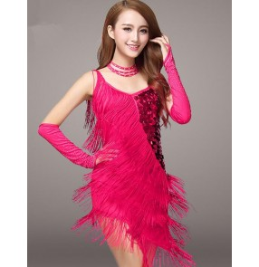 Women's girls lady  fuchsia black red royal blue fashionable sexy fringe straps sequined latin dresses samba chacha dresses with choker and gloves