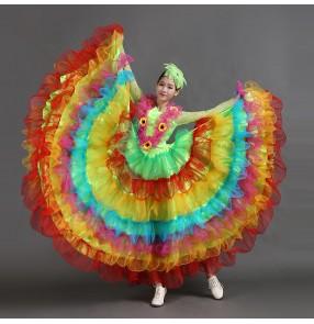 Women's girls lady's rainbow 540 degree big skirted modern dance costume opening dance performance dresses dance wear clothes