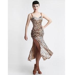 Women's girls leopard black velvet straps backless sexy professional velvet high quality side split competition latin dresses samba salsa dance dresses