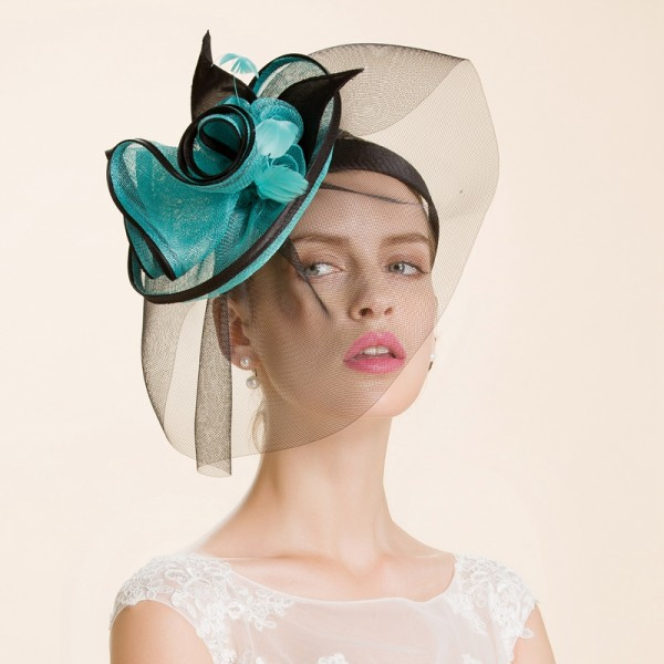 cd5a036b18da0 Women s girls luxury turquoise black patchwork with sinamay pill box hats  with veil wedding bridal fascinators wedding party hats